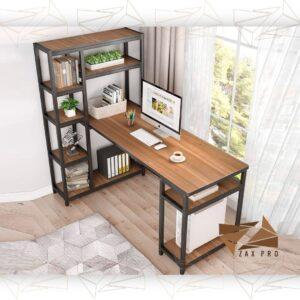 کتابخانه و میز کامپیوتر